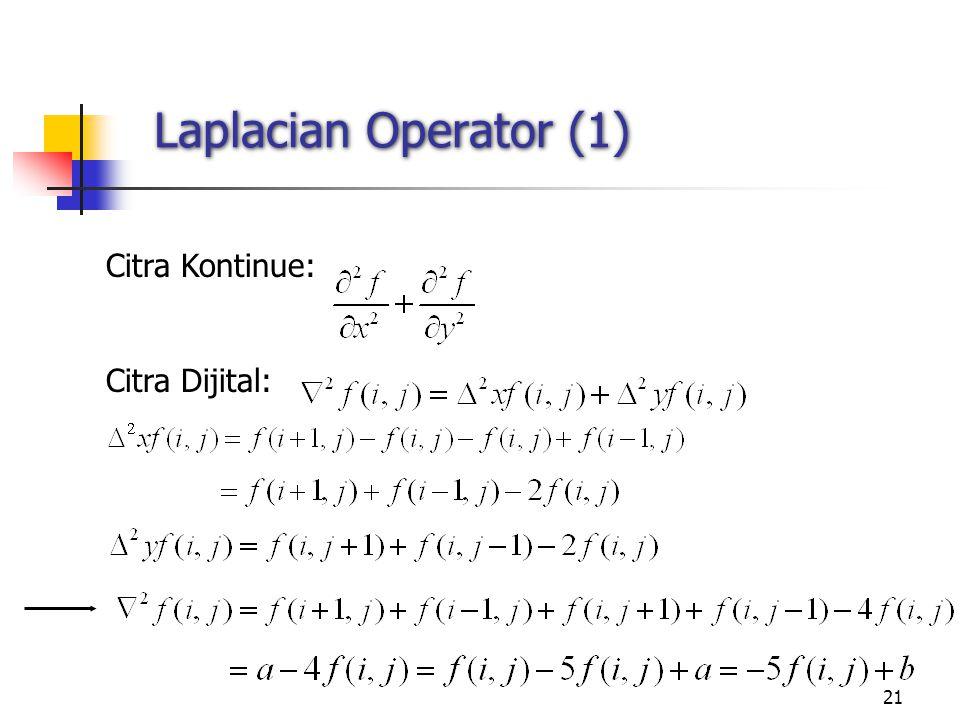 21 Laplacian Operator (1) Citra Kontinue: Citra Dijital: