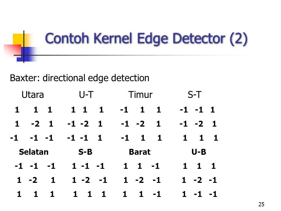 25 Contoh Kernel Edge Detector (2) Baxter: directional edge detection Utara U-T Timur S-T 1 1 1 1 1 1 -1 1 1 -1 -1 1 1 -2 1 -1 -2 1 -1 -2 1 -1 -2 1 -1