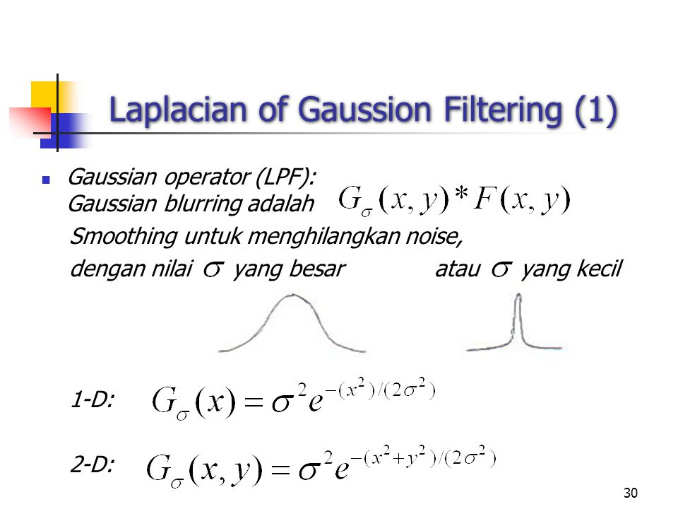 30 Laplacian of Gaussion Filtering (1) Gaussian operator (LPF): Gaussian blurring adalah Smoothing untuk menghilangkan noise, dengan nilai yang besar atau yang kecil 1-D: 2-D: