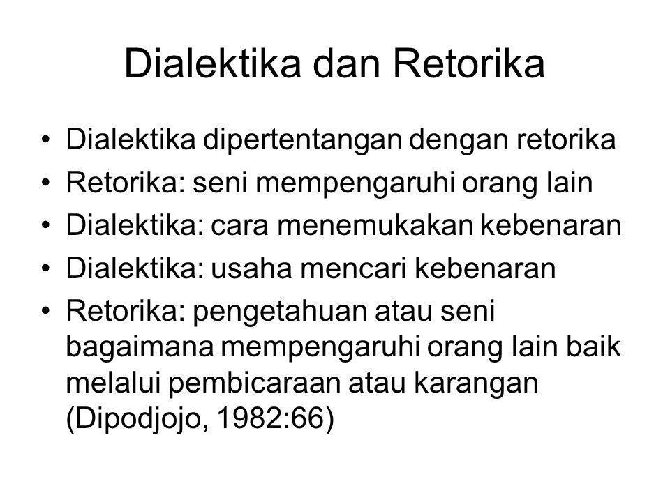 Dialektika dan Retorika Dialektika dipertentangan dengan retorika Retorika: seni mempengaruhi orang lain Dialektika: cara menemukakan kebenaran Dialek