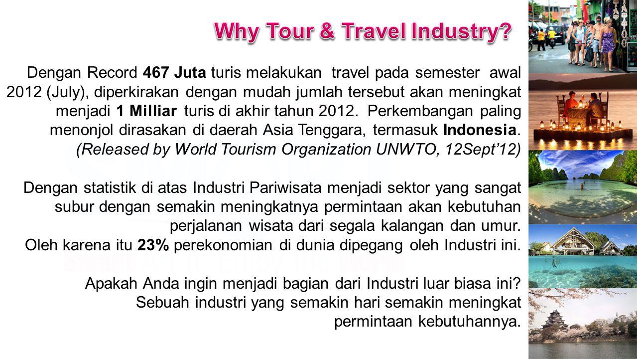 Dengan Record 467 Juta turis melakukan travel pada semester awal 2012 (July), diperkirakan dengan mudah jumlah tersebut akan meningkat menjadi 1 Milliar turis di akhir tahun 2012.
