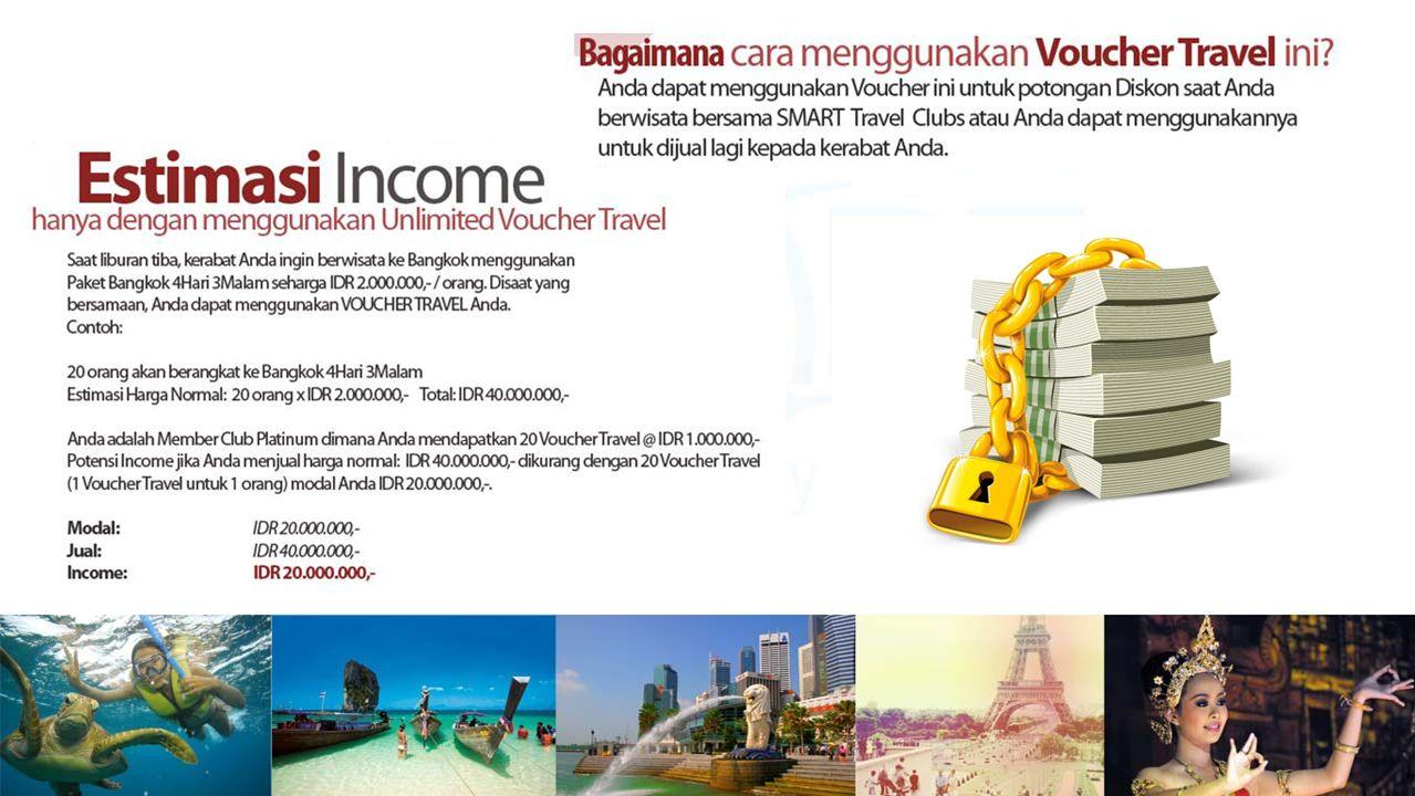 Desember '11Juni '12Juni '13Desember '12Juni '14Desember '13 Semua Member memiliki akses untuk Fasilitas Unlimited Voucher Travel senilai 1 Juta Rupiah yang dapat dipakai untuk potongan Diskon saat Member berwisata.