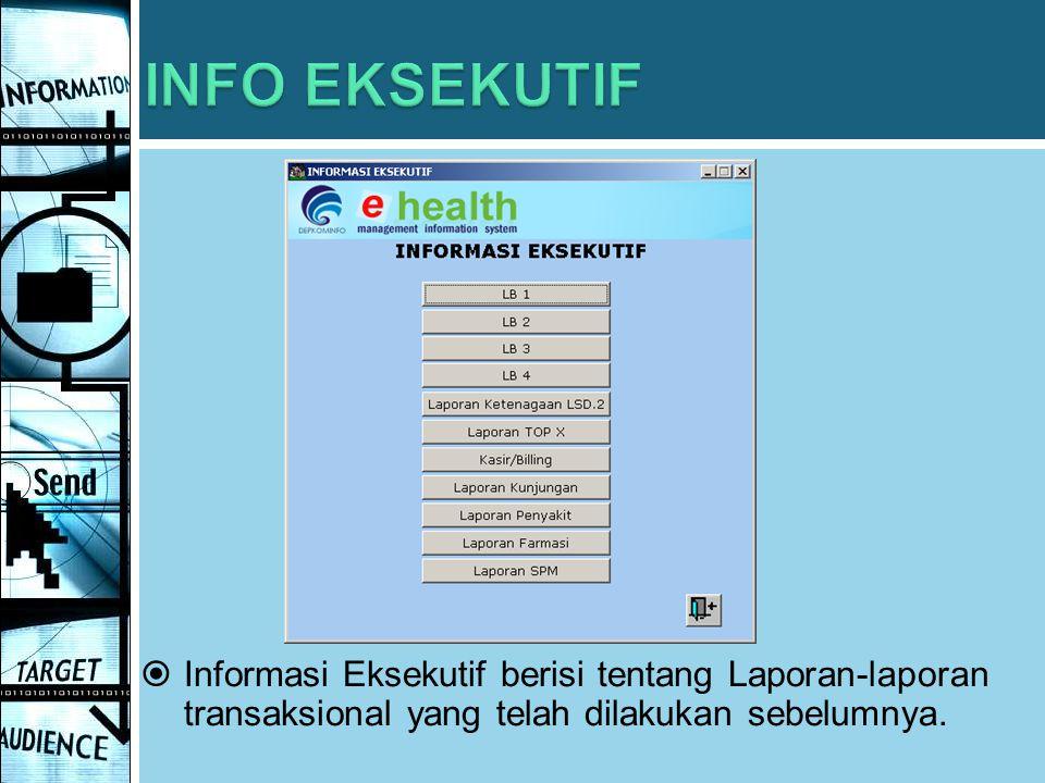  Informasi Eksekutif berisi tentang Laporan-laporan transaksional yang telah dilakukan sebelumnya.