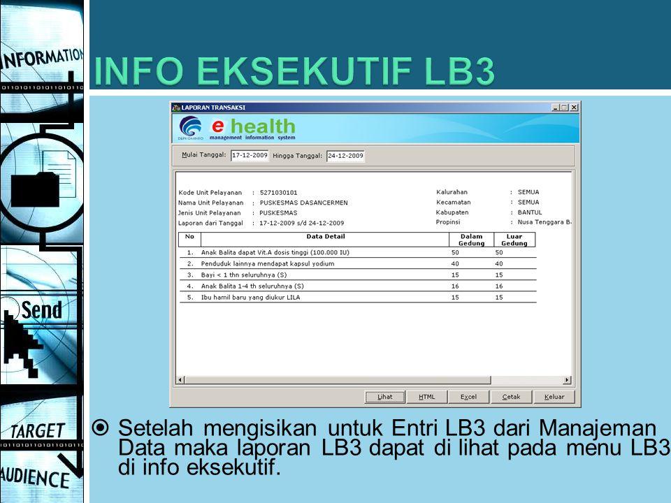  Setelah mengisikan untuk Entri LB3 dari Manajeman Data maka laporan LB3 dapat di lihat pada menu LB3 di info eksekutif.