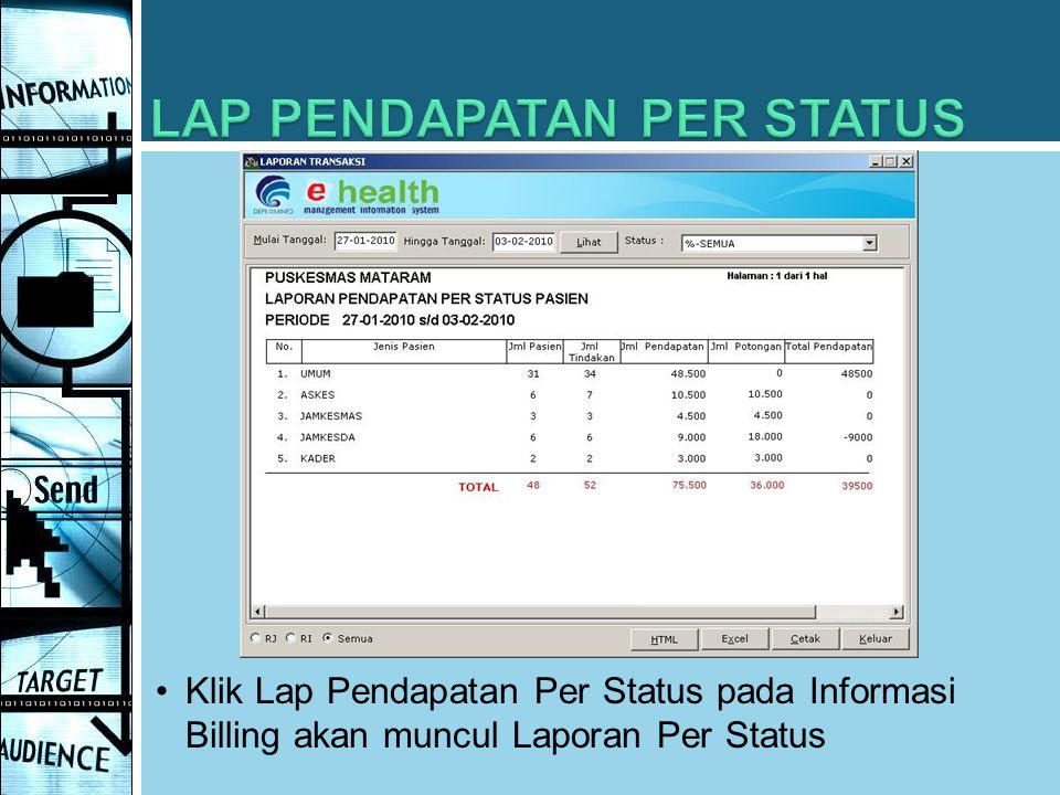 Klik Lap Pendapatan Per Status pada Informasi Billing akan muncul Laporan Per Status