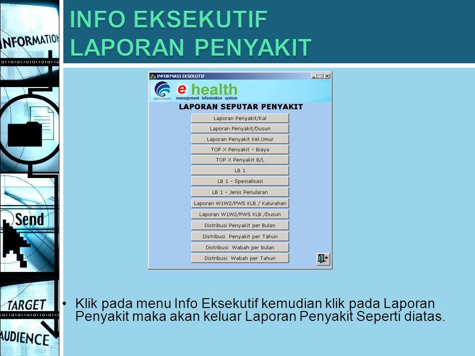 Klik pada menu Info Eksekutif kemudian klik pada Laporan Penyakit maka akan keluar Laporan Penyakit Seperti diatas.