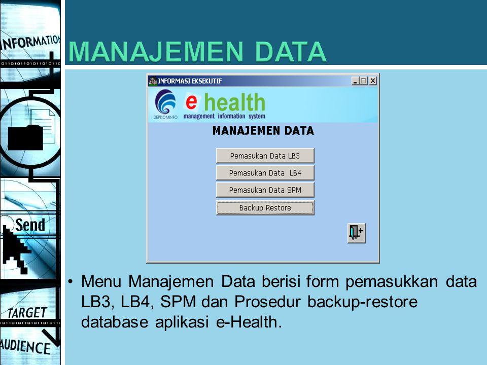 Menu Manajemen Data berisi form pemasukkan data LB3, LB4, SPM dan Prosedur backup-restore database aplikasi e-Health.