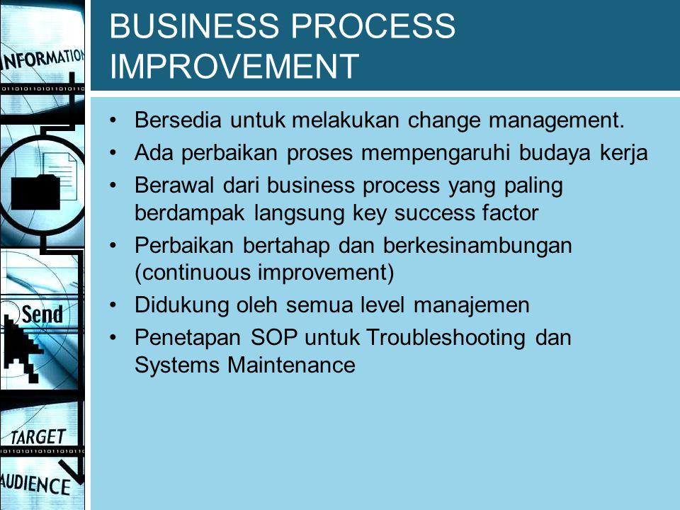 BUSINESS PROCESS IMPROVEMENT Bersedia untuk melakukan change management. Ada perbaikan proses mempengaruhi budaya kerja Berawal dari business process