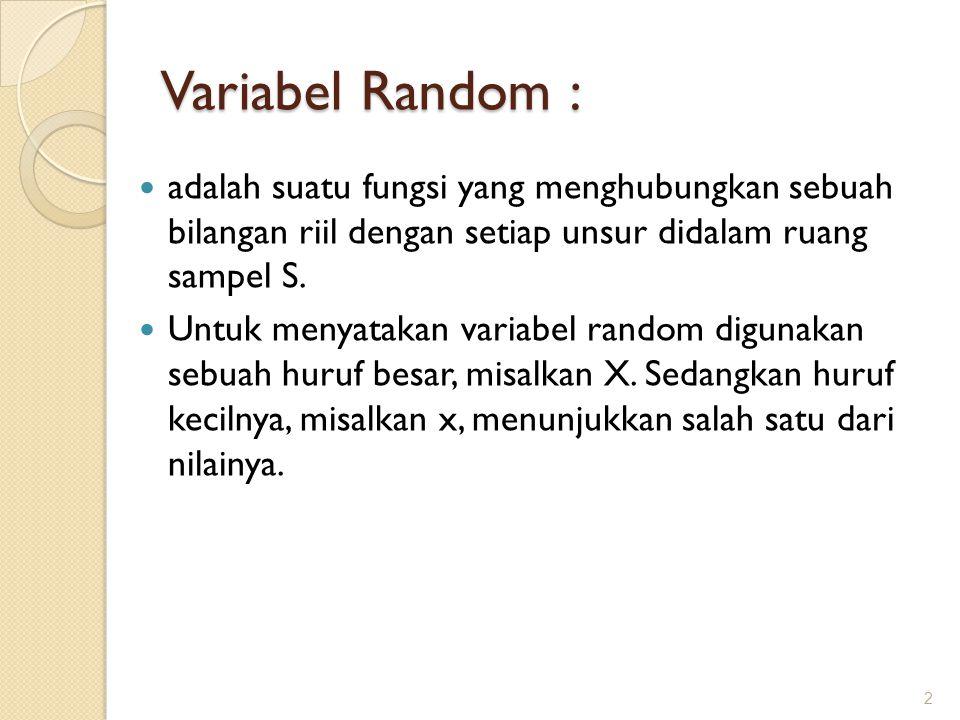 Variabel Random : adalah suatu fungsi yang menghubungkan sebuah bilangan riil dengan setiap unsur didalam ruang sampel S.