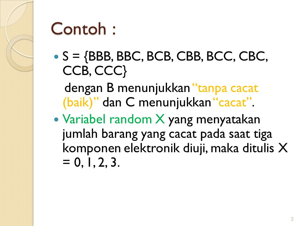 """Contoh : S = {BBB, BBC, BCB, CBB, BCC, CBC, CCB, CCC} dengan B menunjukkan """"tanpa cacat (baik)"""" dan C menunjukkan """"cacat"""". Variabel random X yang meny"""
