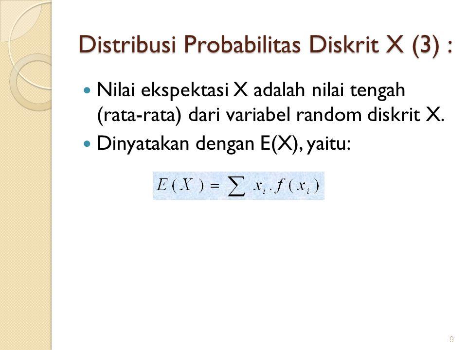 Distribusi Probabilitas Diskrit X (3) : Nilai ekspektasi X adalah nilai tengah (rata-rata) dari variabel random diskrit X. Dinyatakan dengan E(X), yai