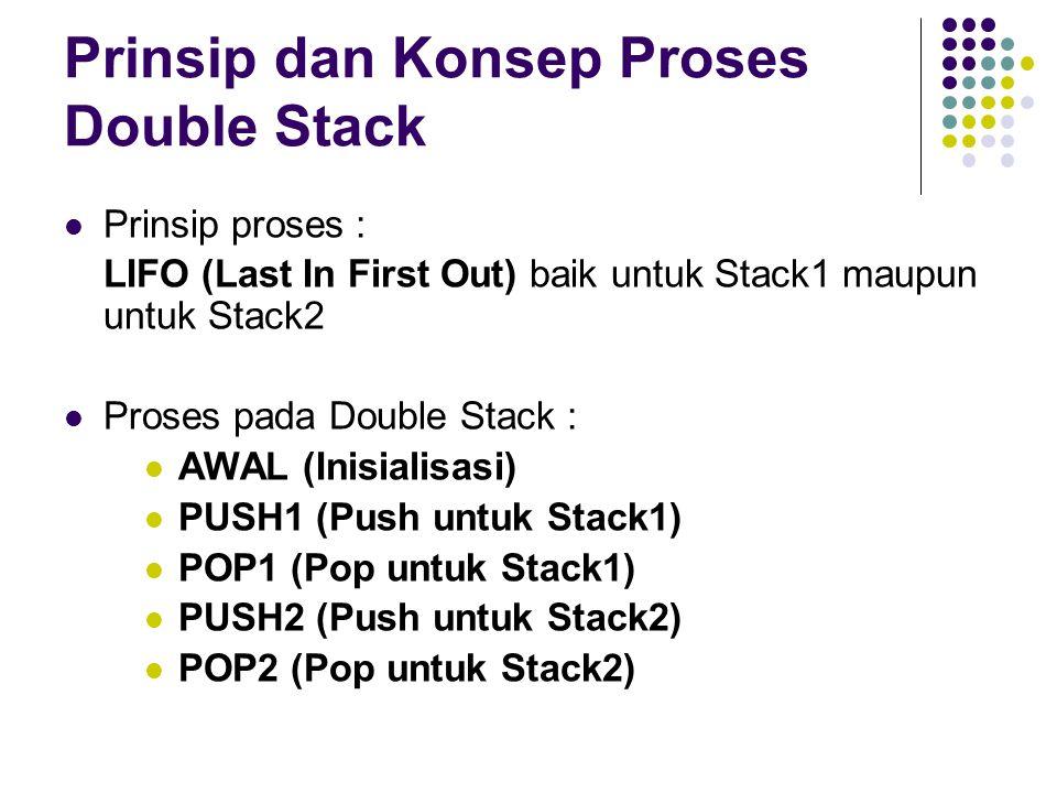 Prinsip dan Konsep Proses Double Stack Prinsip proses : LIFO (Last In First Out) baik untuk Stack1 maupun untuk Stack2 Proses pada Double Stack : AWAL