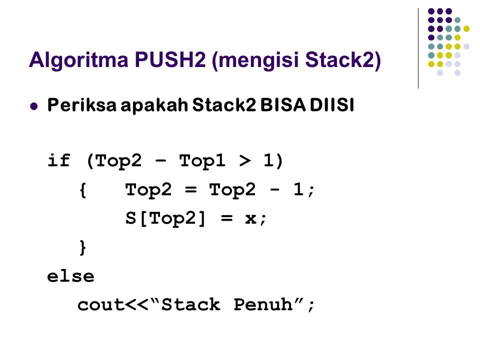 """Algoritma PUSH2 (mengisi Stack2) Periksa apakah Stack2 BISA DIISI if (Top2 – Top1 > 1) { Top2 = Top2 - 1; S[Top2] = x; } else cout<<""""Stack Penuh"""";"""