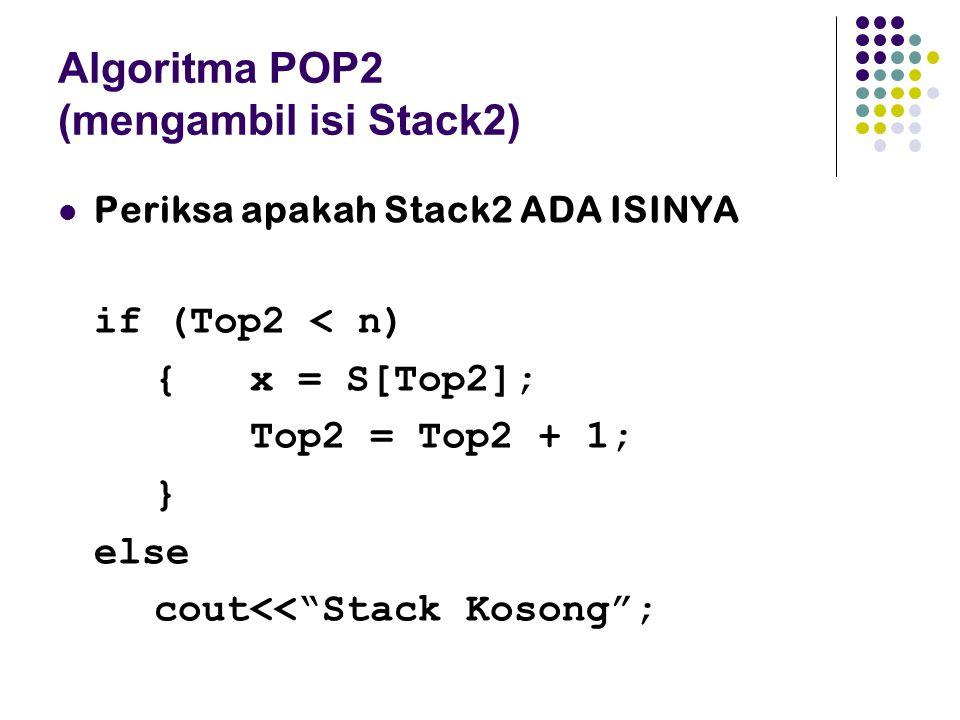 """Algoritma POP2 (mengambil isi Stack2) Periksa apakah Stack2 ADA ISINYA if (Top2 < n) { x = S[Top2]; Top2 = Top2 + 1; } else cout<<""""Stack Kosong"""";"""