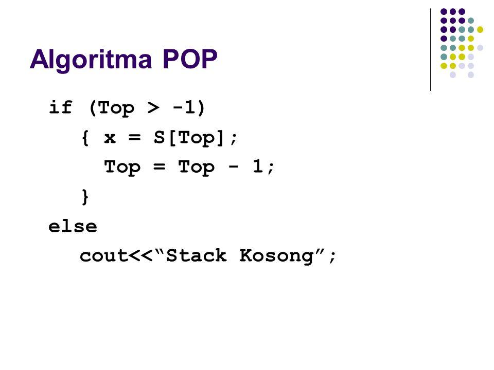 "Algoritma POP if (Top > -1) { x = S[Top]; Top = Top - 1; } else cout<<""Stack Kosong"";"