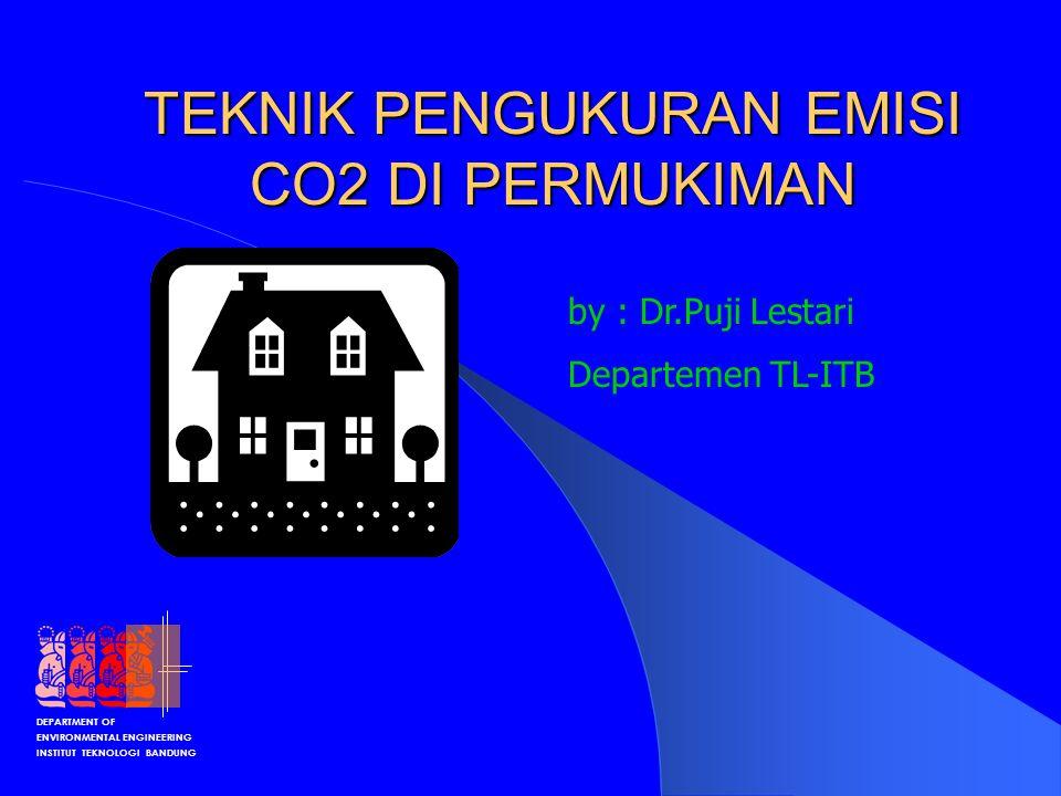 DEPARTMENT OF ENVIRONMENTAL ENGINEERING INSTITUT TEKNOLOGI BANDUNG Sumber CO2 di Permukiman Kebutuhan Energi dipengaruhi oleh – Distribusi Populasi – Income Rumah Tangga – Jumlah RT di permukiman – Jumlah Orang per Rumah Tangga Kebutuhan Energi tidak langsung – Refrigerator (kulkas) – Listrik (lampu), Pemanasan, lighting – AC dll