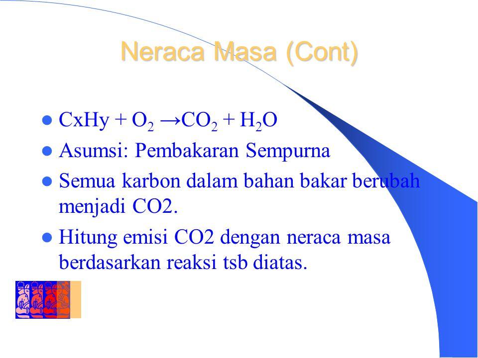 DEPARTMENT OF ENVIRONMENTAL ENGINEERING INSTITUT TEKNOLOGI BANDUNG Neraca Masa (Cont) CxHy + O 2 →CO 2 + H 2 O Asumsi: Pembakaran Sempurna Semua karbon dalam bahan bakar berubah menjadi CO2.