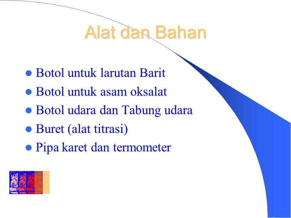 DEPARTMENT OF ENVIRONMENTAL ENGINEERING INSTITUT TEKNOLOGI BANDUNG Alat dan Bahan