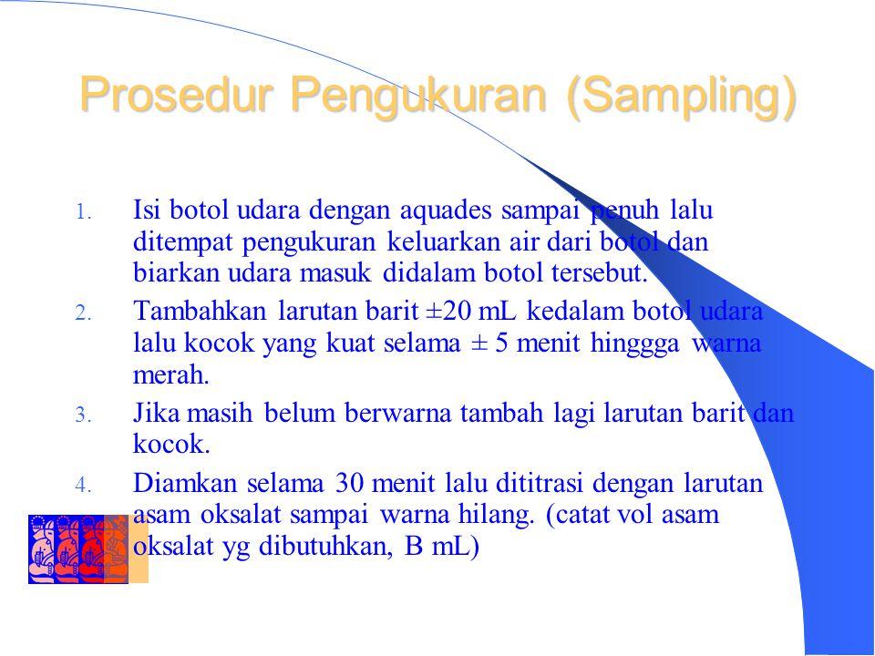 DEPARTMENT OF ENVIRONMENTAL ENGINEERING INSTITUT TEKNOLOGI BANDUNG Prosedur Pengukuran (lanjutan) 1.