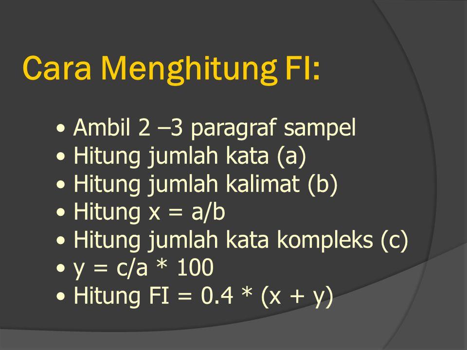 Cara Menghitung FI: Ambil 2 –3 paragraf sampel Hitung jumlah kata (a) Hitung jumlah kalimat (b) Hitung x = a/b Hitung jumlah kata kompleks (c) y = c/a