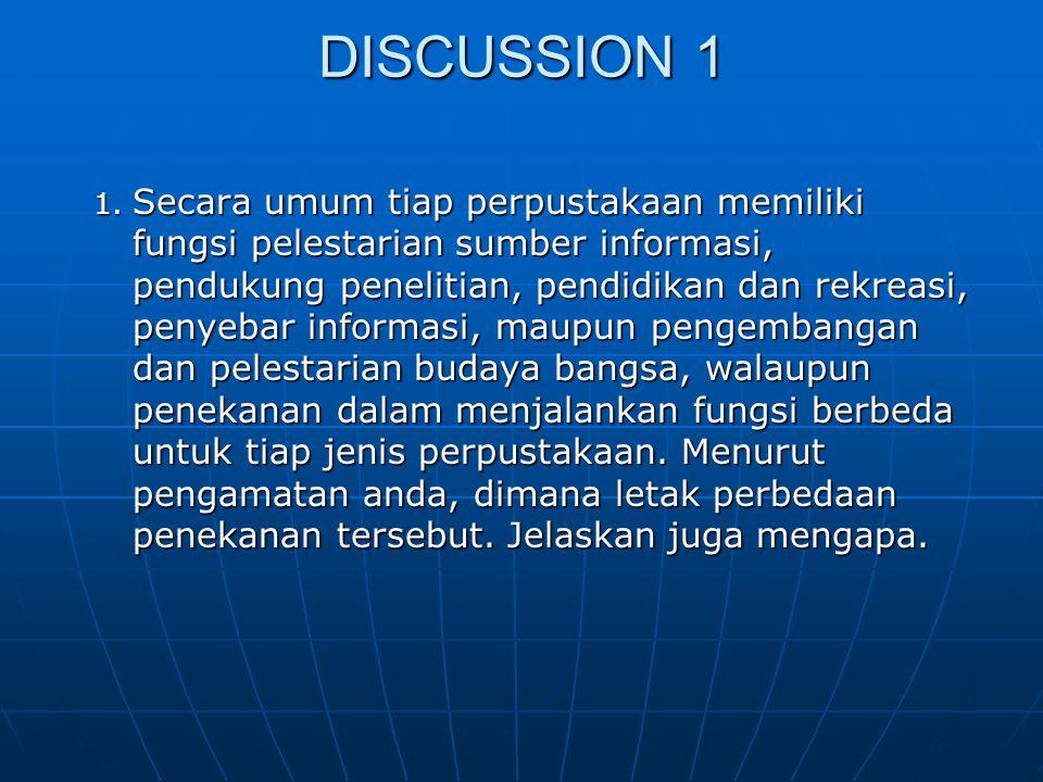 DISCUSSION 1 2.