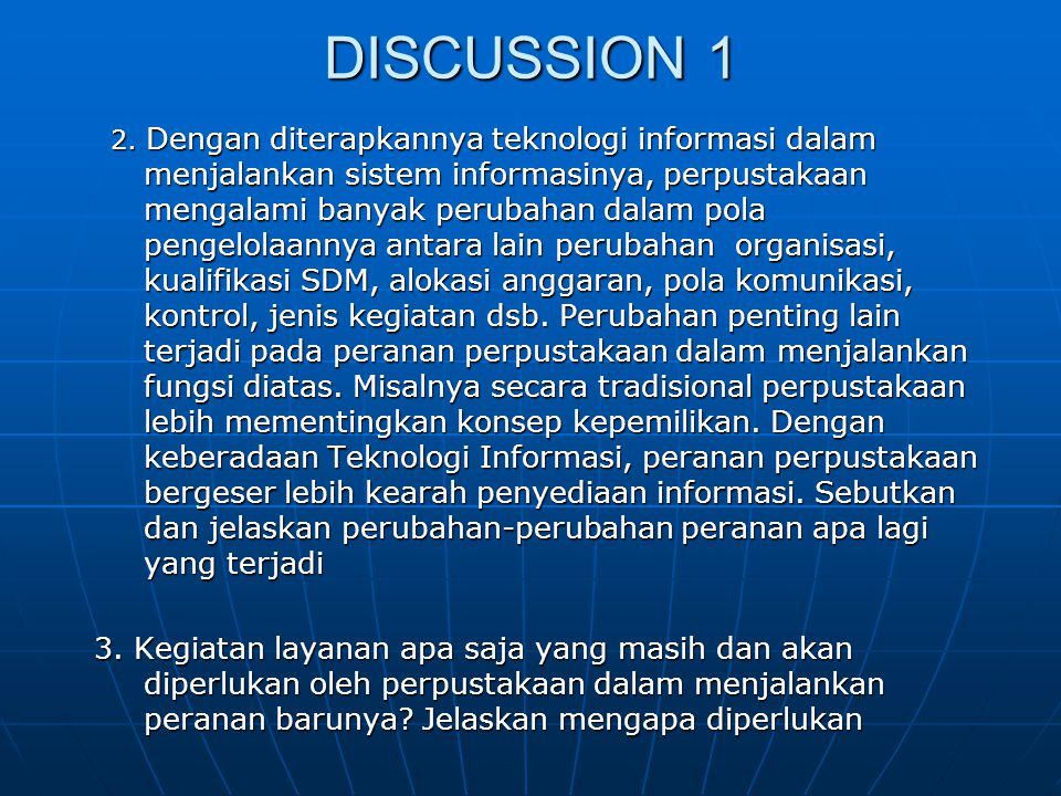DISCUSSION 1 2.