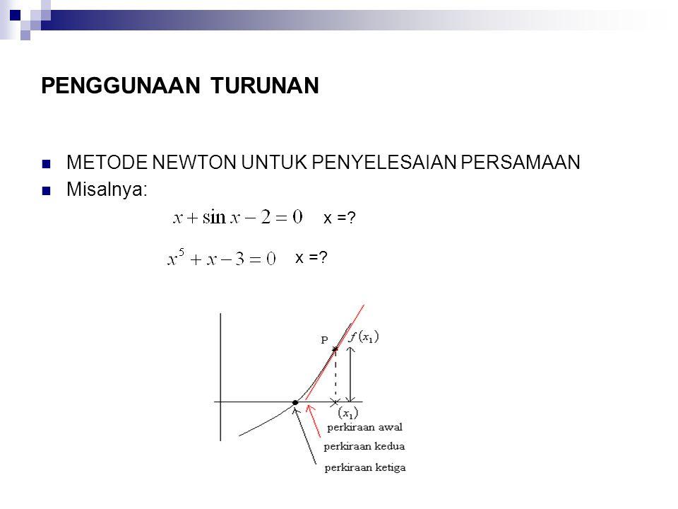 PENGGUNAAN TURUNAN METODE NEWTON UNTUK PENYELESAIAN PERSAMAAN Misalnya: x =?