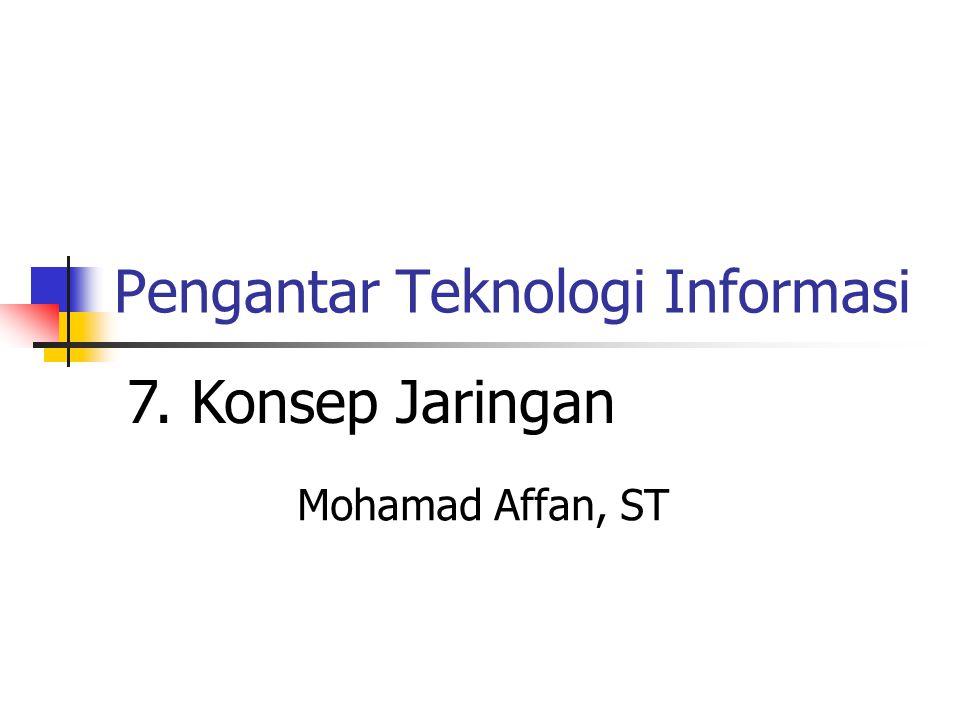 Pengantar Teknologi Informasi Mohamad Affan, ST 7. Konsep Jaringan