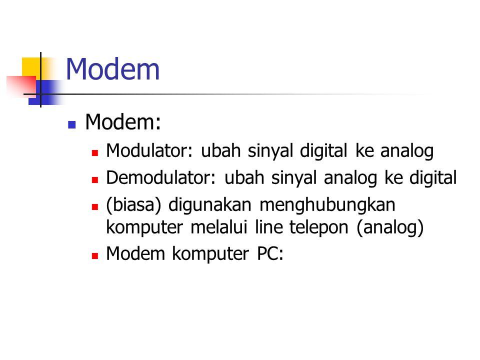 Modem Modem: Modulator: ubah sinyal digital ke analog Demodulator: ubah sinyal analog ke digital (biasa) digunakan menghubungkan komputer melalui line