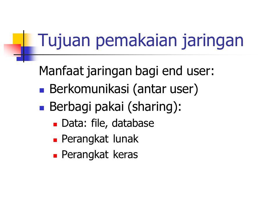 Tujuan pemakaian jaringan Manfaat jaringan bagi end user: Berkomunikasi (antar user) Berbagi pakai (sharing): Data: file, database Perangkat lunak Per