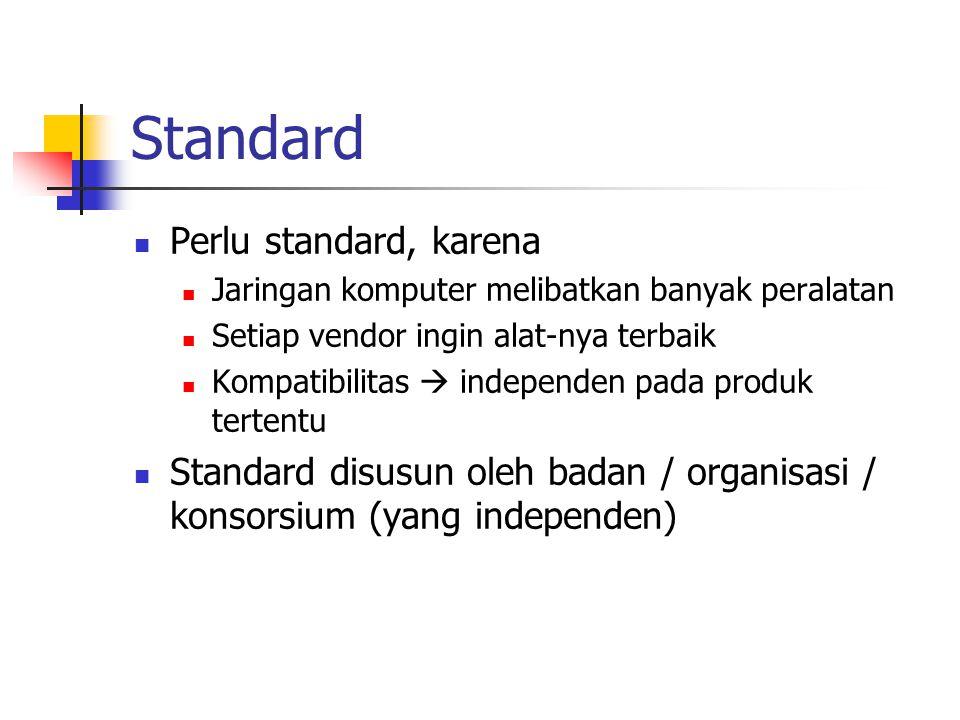 Standard Perlu standard, karena Jaringan komputer melibatkan banyak peralatan Setiap vendor ingin alat-nya terbaik Kompatibilitas  independen pada pr