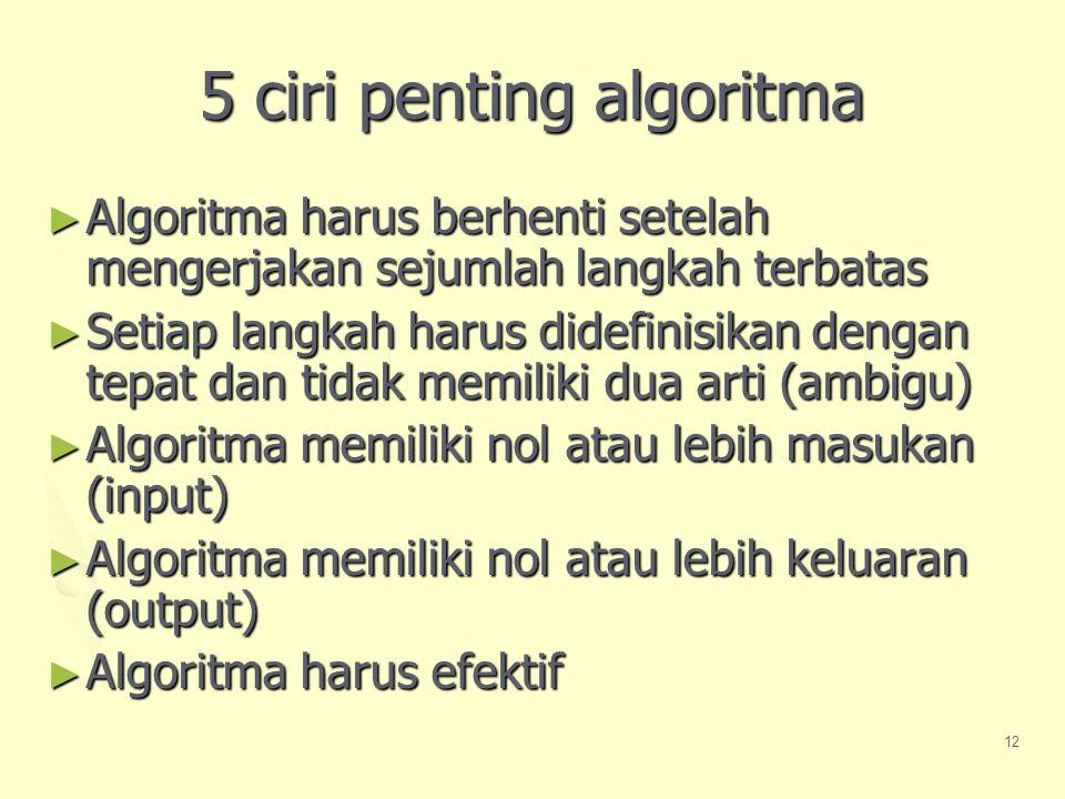 12 5 ciri penting algoritma ► Algoritma harus berhenti setelah mengerjakan sejumlah langkah terbatas ► Setiap langkah harus didefinisikan dengan tepat dan tidak memiliki dua arti (ambigu) ► Algoritma memiliki nol atau lebih masukan (input) ► Algoritma memiliki nol atau lebih keluaran (output) ► Algoritma harus efektif