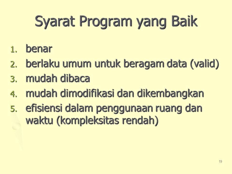 19 Syarat Program yang Baik 1.benar 2. berlaku umum untuk beragam data (valid) 3.