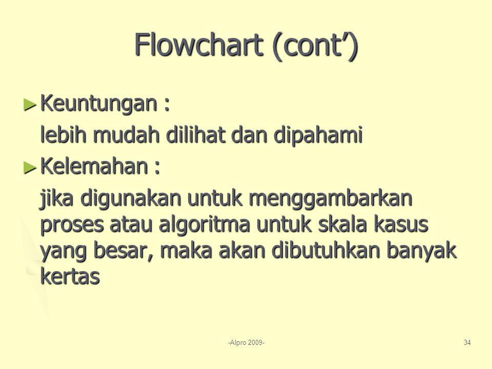 -Alpro 2009-34 Flowchart (cont') ► Keuntungan : lebih mudah dilihat dan dipahami ► Kelemahan : jika digunakan untuk menggambarkan proses atau algoritma untuk skala kasus yang besar, maka akan dibutuhkan banyak kertas