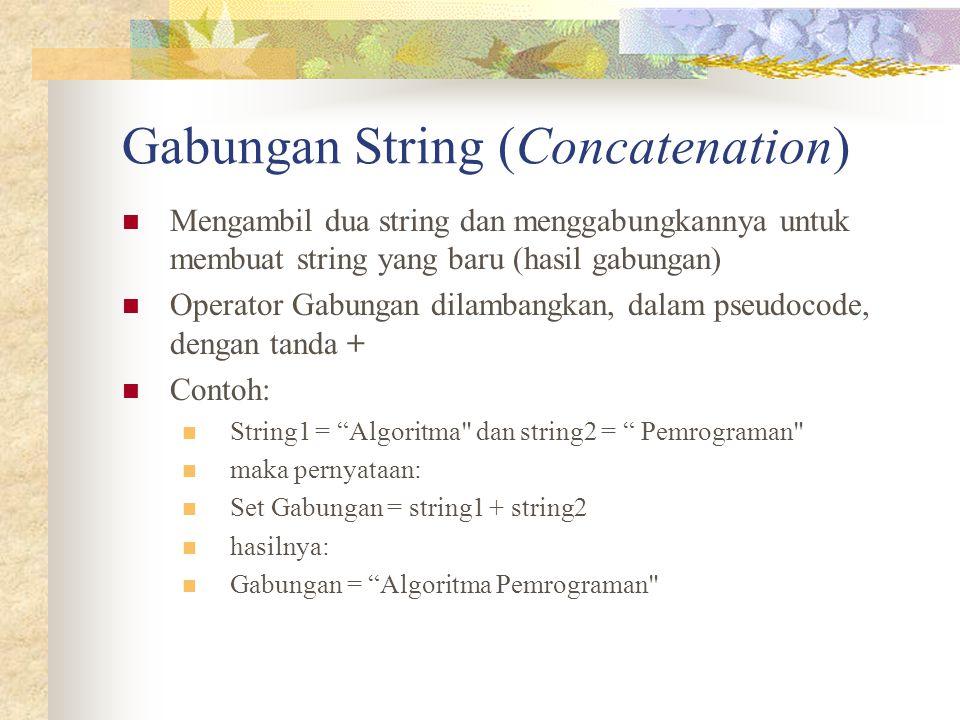 Gabungan String (Concatenation) Mengambil dua string dan menggabungkannya untuk membuat string yang baru (hasil gabungan) Operator Gabungan dilambangk