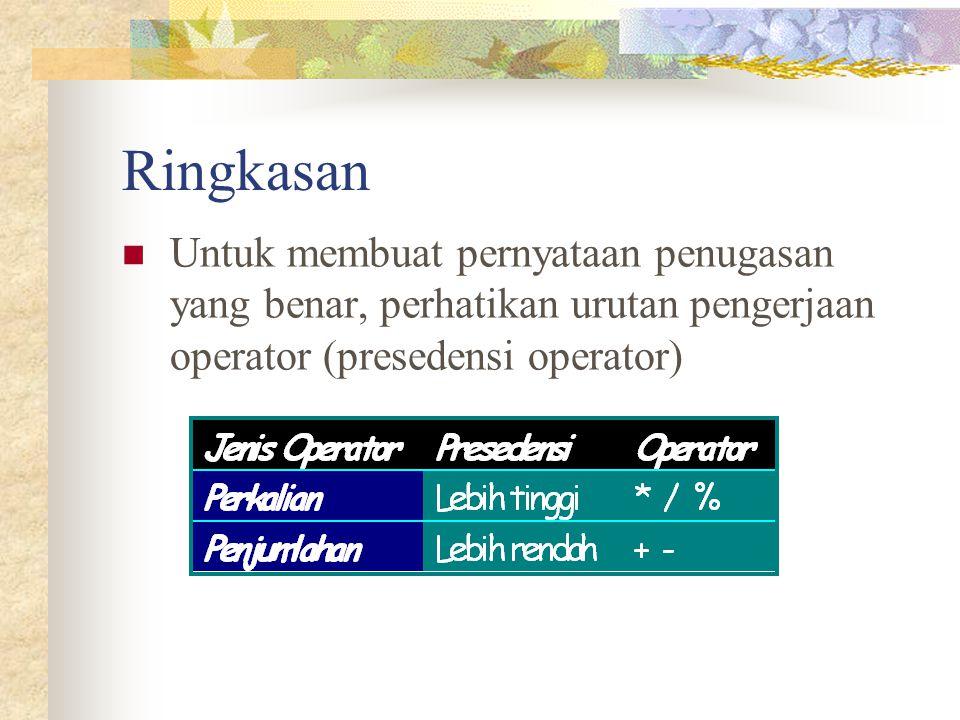 Ringkasan Untuk membuat pernyataan penugasan yang benar, perhatikan urutan pengerjaan operator (presedensi operator)