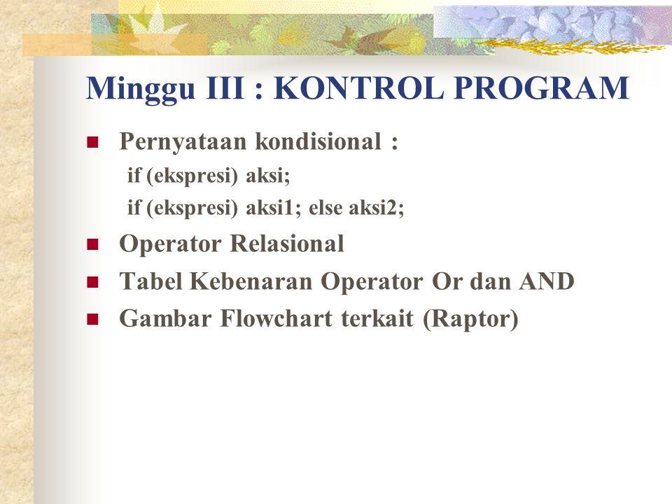 Minggu III : KONTROL PROGRAM Pernyataan kondisional : if (ekspresi) aksi; if (ekspresi) aksi1; else aksi2; Operator Relasional Tabel Kebenaran Operato