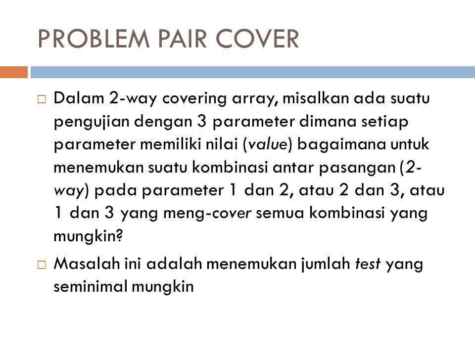 PROBLEM PAIR COVER  Dalam 2-way covering array, misalkan ada suatu pengujian dengan 3 parameter dimana setiap parameter memiliki nilai (value) bagaim