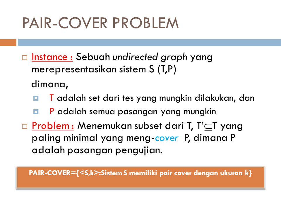 PAIR-COVER PROBLEM  Instance : Sebuah undirected graph yang merepresentasikan sistem S (T,P) dimana,  T adalah set dari tes yang mungkin dilakukan,