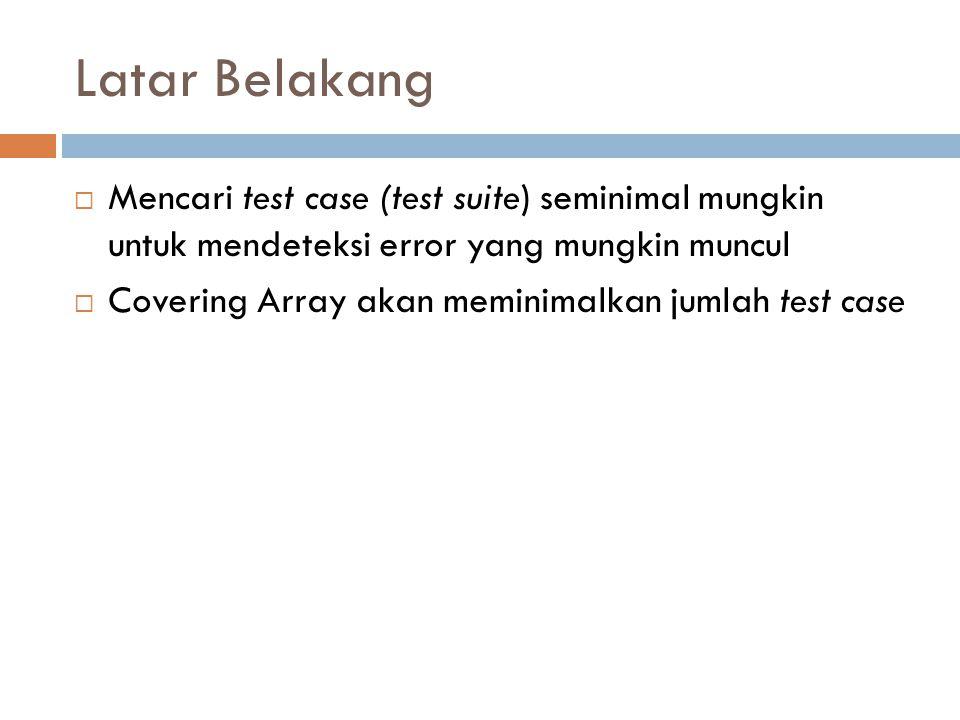 Latar Belakang  Mencari test case (test suite) seminimal mungkin untuk mendeteksi error yang mungkin muncul  Covering Array akan meminimalkan jumlah