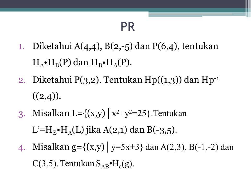 PR 1.Diketahui A(4,4), B(2,-5) dan P(6,4), tentukan H A H B (P) dan H B H A (P). 2.Diketahui P(3,2). Tentukan Hp((1,3)) dan Hp -1 ((2,4)). 3.Misalkan