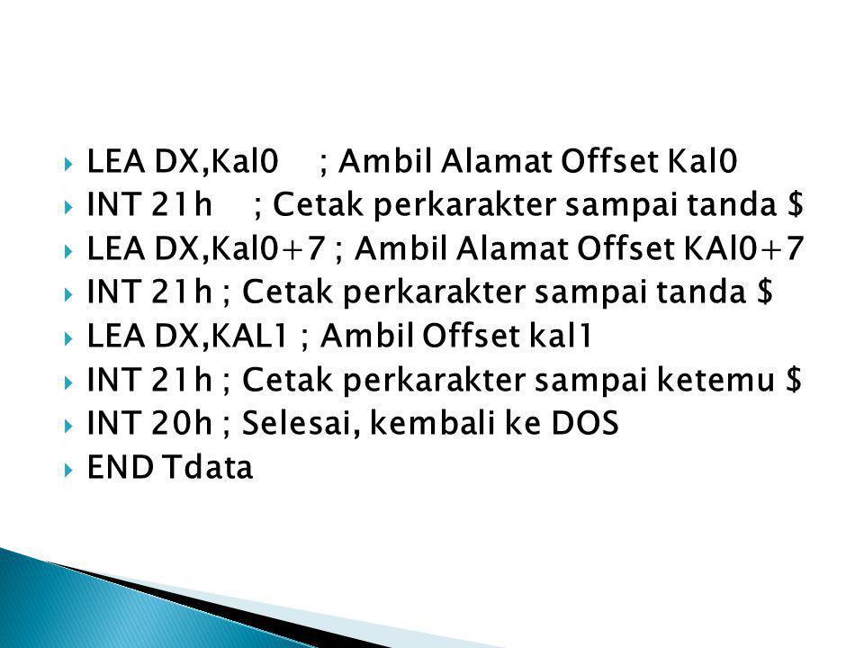  LEA DX,Kal0 ; Ambil Alamat Offset Kal0  INT 21h ; Cetak perkarakter sampai tanda $  LEA DX,Kal0+7 ; Ambil Alamat Offset KAl0+7  INT 21h ; Cetak p