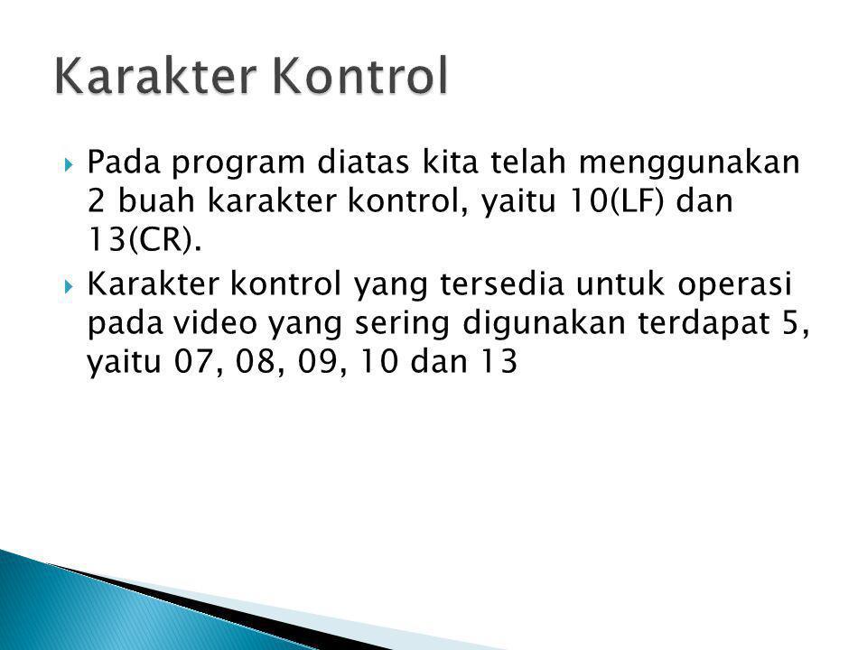  Pada program diatas kita telah menggunakan 2 buah karakter kontrol, yaitu 10(LF) dan 13(CR).  Karakter kontrol yang tersedia untuk operasi pada vid