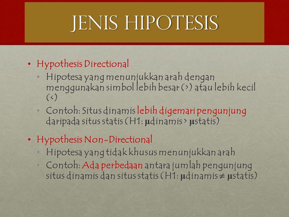 JENIS HIPOTESIS Hypothesis Directional Hypothesis Directional Hipotesa yang menunjukkan arah dengan menggunakan simbol lebih besar (>) atau lebih keci