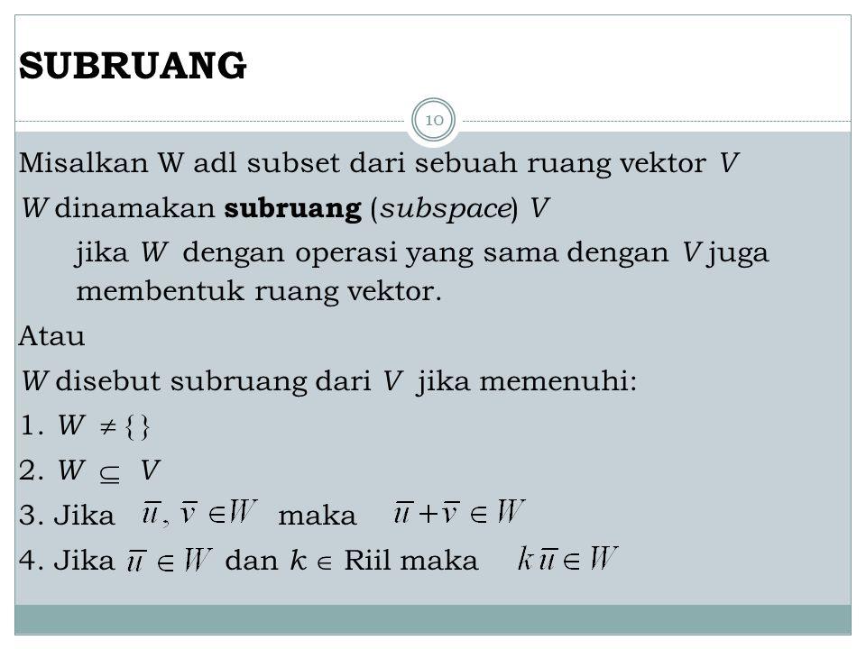 10 SUBRUANG Misalkan W adl subset dari sebuah ruang vektor V W dinamakan subruang ( subspace ) V jika W dengan operasi yang sama dengan V juga membent
