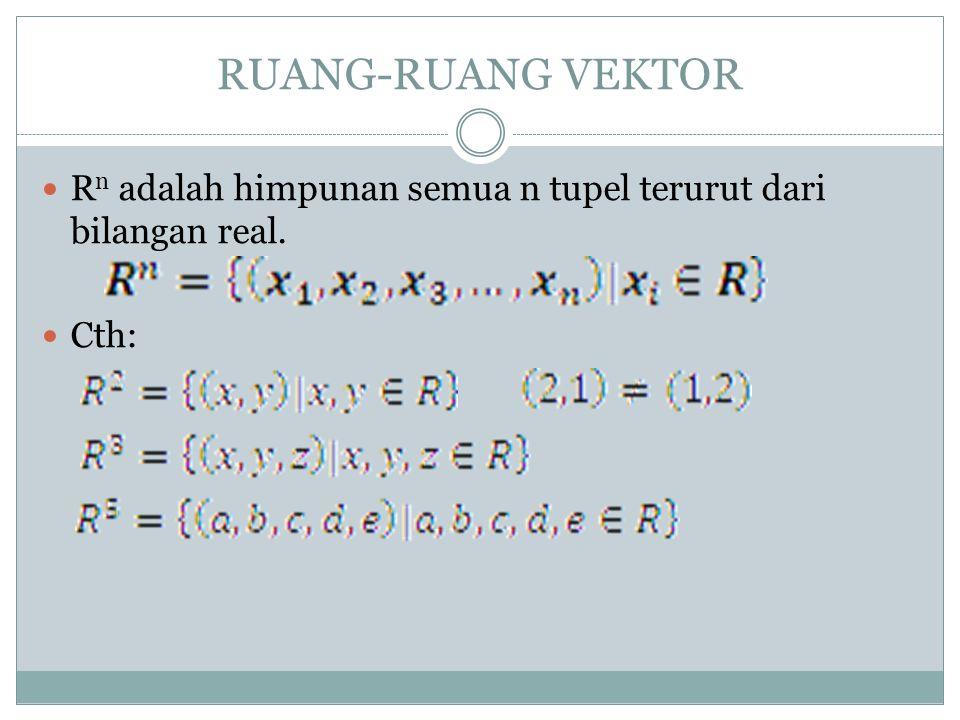 R n adalah himpunan semua n tupel terurut dari bilangan real. Cth: