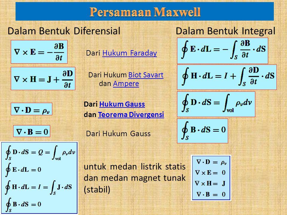 Dalam Bentuk DiferensialDalam Bentuk Integral Dari Hukum GaussHukum Gauss dan Teorema DivergensiTeorema Divergensi Dari Hukum Biot Savart dan AmpereBiot SavartAmpere Dari Hukum FaradayHukum Faraday Dari Hukum Gauss untuk medan listrik statis dan medan magnet tunak (stabil)