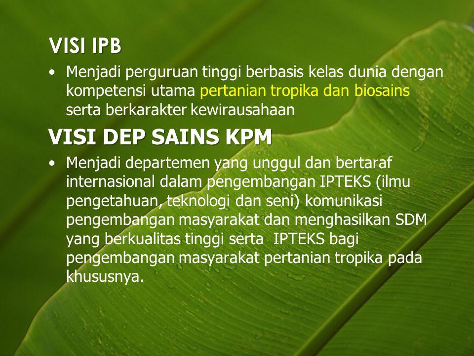 VISI IPB Menjadi perguruan tinggi berbasis kelas dunia dengan kompetensi utama pertanian tropika dan biosains serta berkarakter kewirausahaan VISI DEP