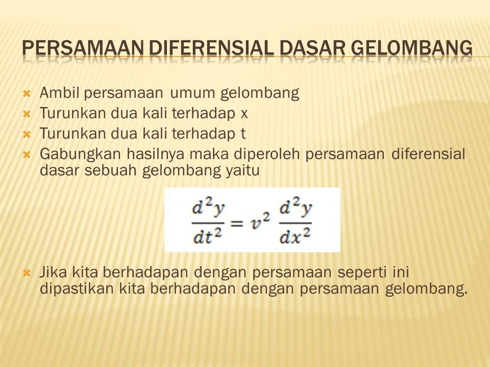  Ambil persamaan umum gelombang  Turunkan dua kali terhadap x  Turunkan dua kali terhadap t  Gabungkan hasilnya maka diperoleh persamaan diferensi
