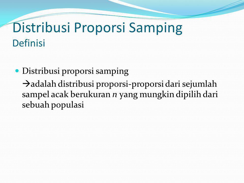 Distribusi Proporsi Samping Definisi Distribusi proporsi samping  adalah distribusi proporsi-proporsi dari sejumlah sampel acak berukuran n yang mungkin dipilih dari sebuah populasi